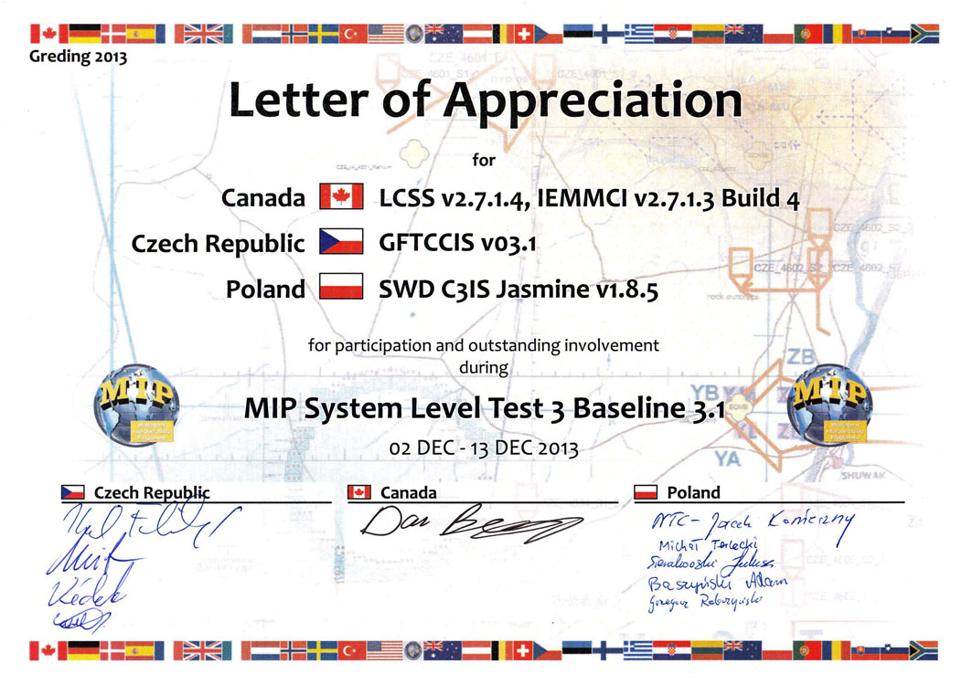 Authorizations and certificates teldat certificate of appreciation for the best and modern ict network in the history of combined endeavor exercises organized by us european command built on spiritdancerdesigns Gallery