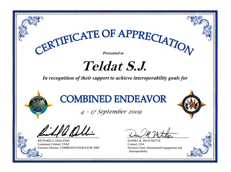 Authorizations and certificates teldat certificate of appreciation for our engineers and products network centric data communication platform jasmine and c3is jasmine in recognition of their yelopaper Gallery
